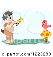Satyr Playing A Flute For A Bird