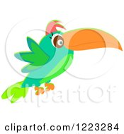 Clipart Of A Flying Green Toucan Royalty Free Vector Illustration by bpearth