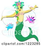 Mermaid Swimming With Fish