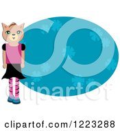 Girl Cat Over A Blue Floral Oval
