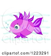 Purple Fish With Bubbles Underwater