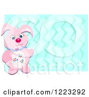 Clipart Of A Pink Easter Bunny Over Blue Zig Zags Royalty Free Vector Illustration by bpearth