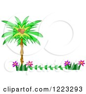Tropical Palm Tree And Flower Border