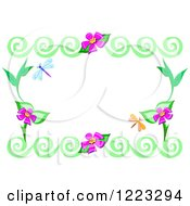 Green Swirl Frame With Flowers And Dragonflies