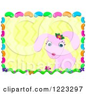 Clipart Of A Pink Easter Bunny Over Zig Zags In A Jelly Bean Frame Royalty Free Vector Illustration by bpearth