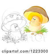 Clipart Of An Outlined And Colored Happy Mushroom Royalty Free Illustration