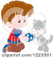 Clipart Of A Happy Gray Kitten And Boy Playing With A Ball Royalty Free Vector Illustration