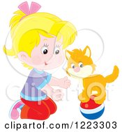 Clipart Of A Happy Ginger Kitten And Girl Playing With A Ball Royalty Free Vector Illustration
