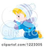 Clipart Of A Happy Blond Boy Making A Giant Snowball Royalty Free Vector Illustration