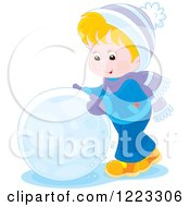 Clipart Of A Happy Blond Boy Rolling A Giant Snowball Royalty Free Vector Illustration by Alex Bannykh