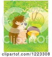 Clipart Of A Happy Hedgehog By A Mushroom Royalty Free Illustration by Alex Bannykh