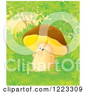 Clipart Of A Happy Mushroom In The Woods Royalty Free Illustration by Alex Bannykh