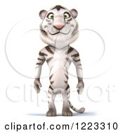 Clipart Of A 3d White Tiger Mascot Standing Royalty Free Illustration