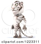 Clipart Of A 3d White Tiger Mascot Facing Left Royalty Free Illustration