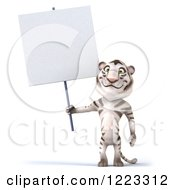Clipart Of A 3d White Tiger Mascot Holding A Sign Royalty Free Illustration