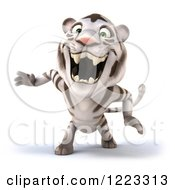 Clipart Of A 3d White Tiger Mascot Roaring Royalty Free Illustration