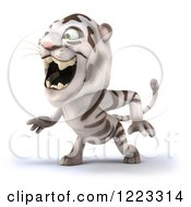 Clipart Of A 3d White Tiger Mascot Roaring 2 Royalty Free Illustration