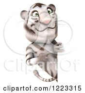 Clipart Of A 3d White Tiger Mascot Looking Around And Pointing To A Sign Royalty Free Illustration