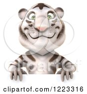 Clipart Of A 3d White Tiger Mascot Smiling Over A Sign Royalty Free Illustration