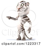 Clipart Of A 3d White Tiger Mascot Pointing Royalty Free Illustration