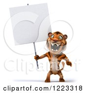Clipart Of A 3d Roaring Tiger Mascot Holding A Sign Royalty Free Illustration
