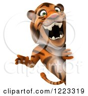 Clipart Of A 3d Roaring Tiger Mascot Looking Around A Sign Royalty Free Illustration