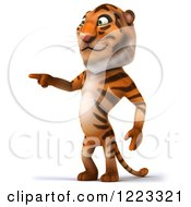 Clipart Of A 3d Tiger Mascot Pointing Royalty Free Illustration