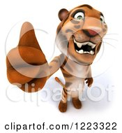 Clipart Of A 3d Tiger Mascot Holding A Thumb Up Royalty Free Illustration