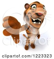 Clipart Of A 3d Tiger Mascot Holding A Thumb Down Royalty Free Illustration