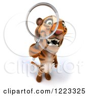 Clipart Of A 3d Tiger Mascot Looking Through A Magnifying Glass 2 Royalty Free Illustration