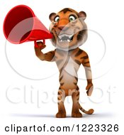 Clipart Of A 3d Tiger Mascot Using A Megaphone Royalty Free Illustration