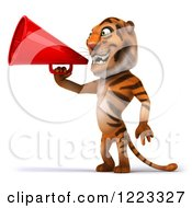 Clipart Of A 3d Tiger Mascot Using A Megaphone 2 Royalty Free Illustration