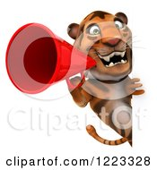 Clipart Of A 3d Tiger Mascot Using A Megaphone Around A Sign Royalty Free Illustration