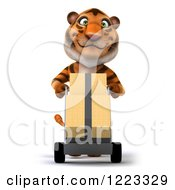 Clipart Of A 3d Tiger Mascot Moving Boxes On A Dolly Royalty Free Illustration