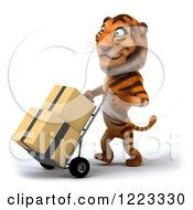 Clipart Of A 3d Tiger Mascot Moving Boxes On A Dolly 2 Royalty Free Illustration