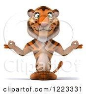 Clipart Of A 3d Tiger Mascot Meditating Royalty Free Illustration