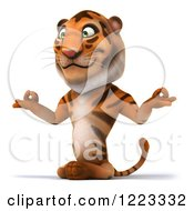 Clipart Of A 3d Tiger Mascot Meditating 2 Royalty Free Illustration