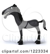 Clipart Of A 3d Smiling Black Horse Facing Left Royalty Free Illustration