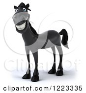 Clipart Of A 3d Smiling Black Horse 2 Royalty Free Illustration