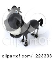 Clipart Of A 3d Smiling Black Horse Looking Up Royalty Free Illustration