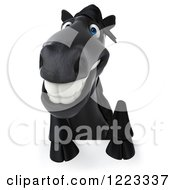 Clipart Of A 3d Smiling Black Horse Over A Sign Royalty Free Illustration
