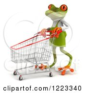 Clipart Of A 3d Green Springer Frog Gardener Pushing A Shopping Cart 4 Royalty Free Illustration by Julos