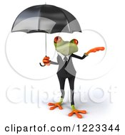 Clipart Of A 3d Business Springer Frog Reaching Out From Under An Umbrella Royalty Free Illustration
