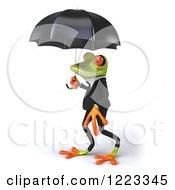 Clipart Of A 3d Business Springer Frog Under An Umbrella 2 Royalty Free Illustration