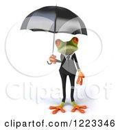 Clipart Of A 3d Business Springer Frog Under An Umbrella Royalty Free Illustration
