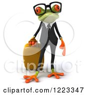 Clipart Of A 3d Traveling Business Springer Frog Wearing Glasses And Pulling Luggage Royalty Free Illustration