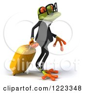 Clipart Of A 3d Traveling Business Springer Frog Wearing Glasses And Pulling Luggage 2 Royalty Free Illustration