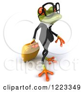 Clipart Of A 3d Traveling Business Springer Frog Wearing Glasses And Pulling Luggage 3 Royalty Free Illustration