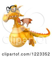 Clipart Of A 3d Bespectacled Yellow Dragon Flying Royalty Free Illustration