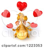 3d Yellow Dragon Juggling Red Hearts